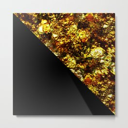 Golden Triangle - Abstract, geometric, Black And Gold Foil Artwork Metal Print
