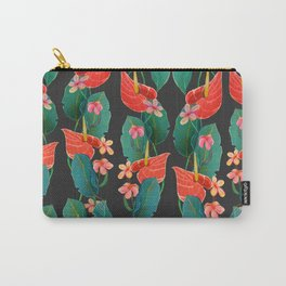 vertical floral Carry-All Pouch