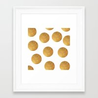 polkadot Framed Art Prints featuring GOLD POLKADOT 2 by wlydesign