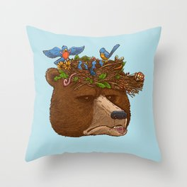 Mr Bear's Nature Hat 2017 Throw Pillow