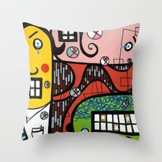 the UNCSCRUPULOUS NONSENSICAL IRREPRESSIBLY INFINITESIMAL INFESTATION of GREED Throw Pillow