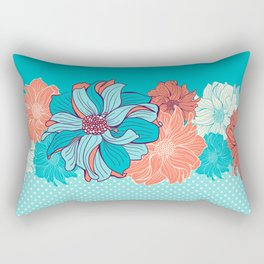 Dahlia floral border in turquoise Rectangular Pillow