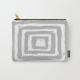Minimal Light Gray Brush Stroke Square Rectangle Pattern Carry-All Pouch