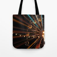 ferris wheel Tote Bags featuring Ferris Wheel by Renee Trudell