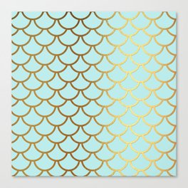 Aqua Teal And Gold Foil MermaidScales - Mermaid Scales Canvas Print