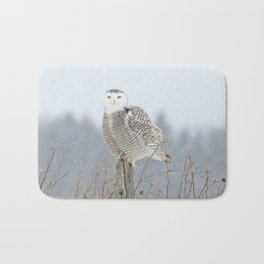 Snow falling on Miss Snowy Bath Mat