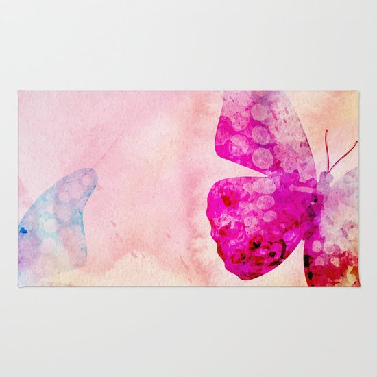 Pink Watercolor Butterfly Rug By Modern Homes