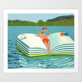 Summer Reading on the Lake Art Print