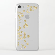 Sparkling gold glitter confetti on black - Luxury design Clear iPhone Case