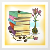 books Art Prints featuring Books by famenxt