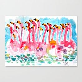 Welcome to Miami - Flamingos Illustration Canvas Print
