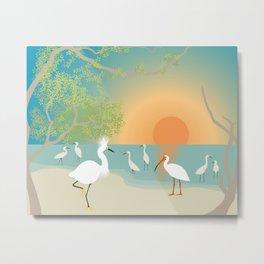Egrets on a Sunset Beach Metal Print