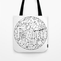 faith Tote Bags featuring Faith by Gosia&Helena
