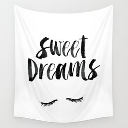 Sweet Dreams black and white contemporary minimalist typography poster home wall decor bedroom art Wall Tapestry
