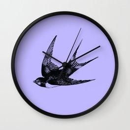 Swallow on Blue Wall Clock