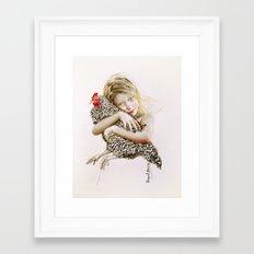 Hen hug Framed Art Print