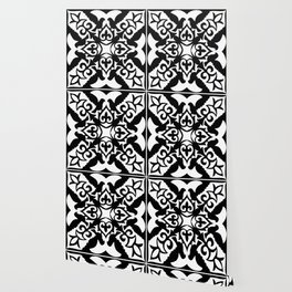 Moroccan Tile Pattern in Black and White Wallpaper