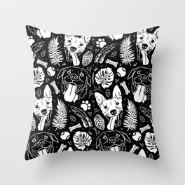 Dawgs and Florals Throw Pillow