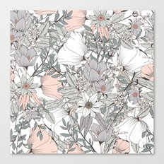 Seamless pattern design with hand drawn flowers and floral elements Canvas Print