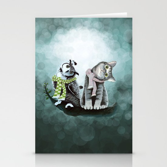 Cat and Owl Stationery Cards