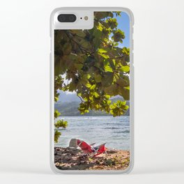 Empty chair on beach overlooking Hanalei Bay in Kauai, Hawaii Clear iPhone Case
