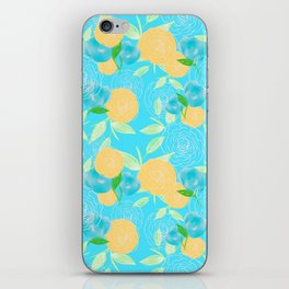 06 Yellow Blooms on Blue iPhone Skin
