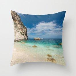 beach rocky Throw Pillow
