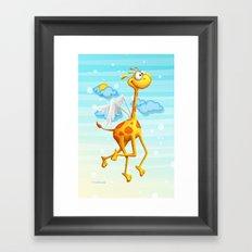 Fly Giraffe fly Framed Art Print