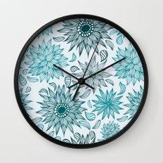 Seamless flower pattern Wall Clock