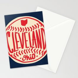 Hand Drawn Baseball for Cleveland Ohio with custom Lettering Stationery Cards