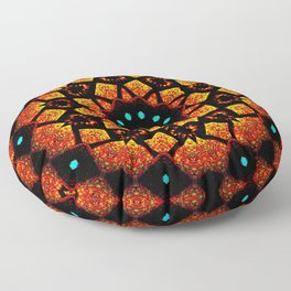 Bright Red Orange Mosaic Kaleidoscope Mandala Floor Pillow