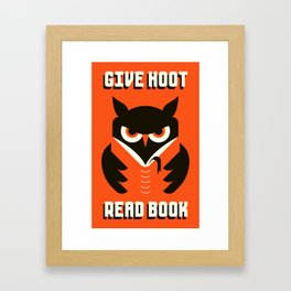 GIVE HOOT / READ BOOK Framed Art Print