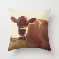 cow Throw Pillows featuring cow by Beverly LeFevre