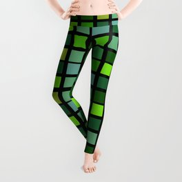 Drizzling Squares Green Edition 3 Leggings