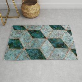 Emerald copper geometric Rug