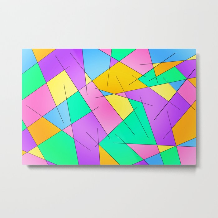 ABSTRACT LINES #1 (Multicolored Vivid) Metal Print