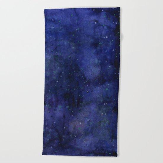 Galaxy Watercolor Nebula Texture Night Sky Stars Beach Towel