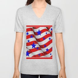 RED PATRIOTIC JULY 4TH BLUE STARS AMERICANA ART Unisex V-Neck
