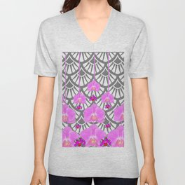 CERISE PINK ORCHID FLOWERS GREY DECO PATTERN ABSTRACT ART Unisex V-Neck