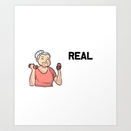 Womens Funny Real Grandmas Go To The Gym Fitness Gym Workout product Art Print
