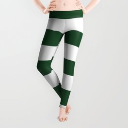 Cal Poly Pomona green - solid color - white stripes pattern Leggings