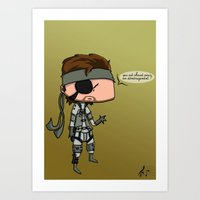 metal gear solid Art Prints featuring Solid Snake - Metal Gear Solid by Dorian Vincenot