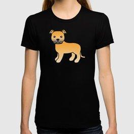 Fawn English Staffordshire Bull Terrier Cartoon Dog T-shirt