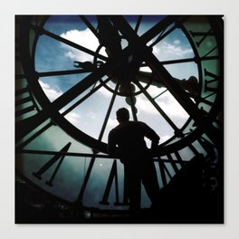 Time with man in silhouette Canvas Print