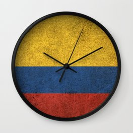 Old and Worn Distressed Vintage Flag of Colombia Wall Clock