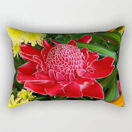Red Torch Ginger Flower Rectangular Pillow