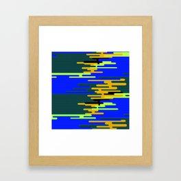 Blue Green Yellow 8Bit Clouds Framed Art Print