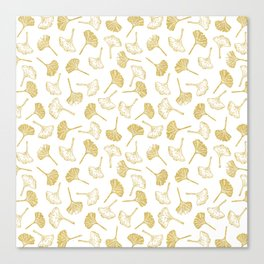 Ginkgo Biloba linocut pattern GLITTER GOLD Canvas Print