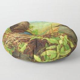 Thrushes' Nest with Eggs along Farmer's Field still life portrait painting by Fidelia Bridges Floor Pillow