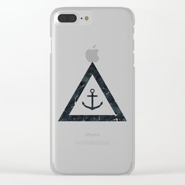 Vintage Anchor Black and White Clear iPhone Case